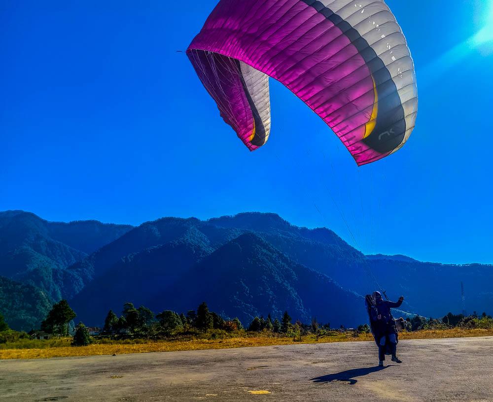 The pilot is taking a test flight in Anini, Arunachal Pradesh