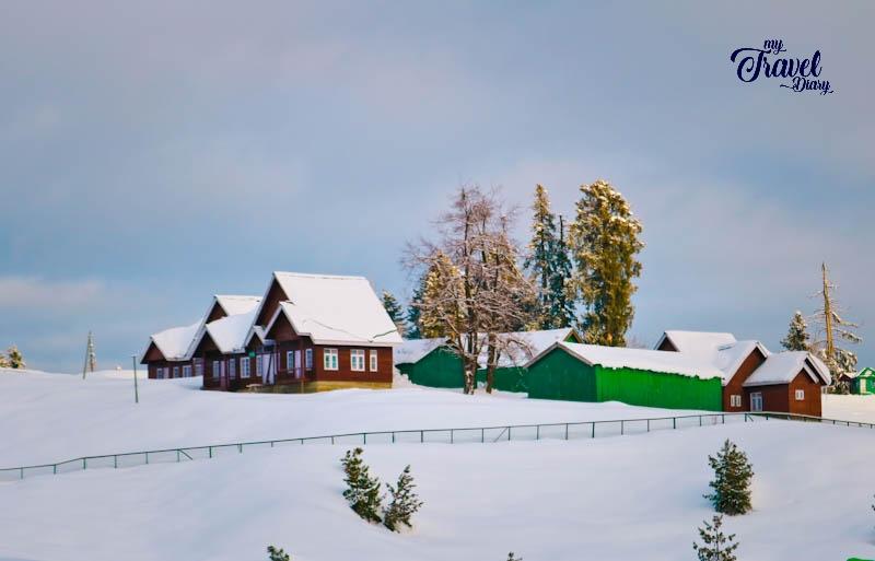 Wooden cottages in Gulmarg, Kashmir