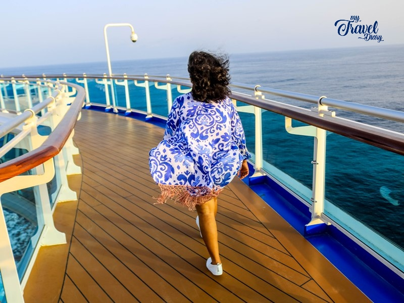 Walking on the deck of the Princess Cruises