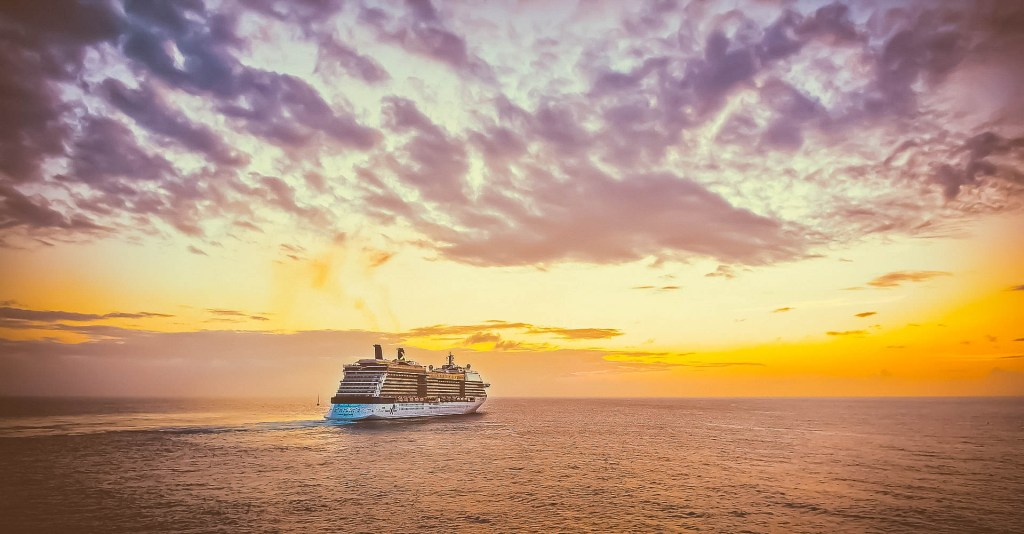 The Gorgeous sunset captured well with the cruise ship