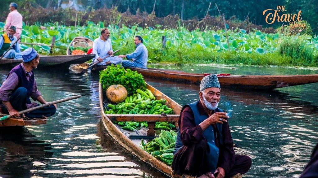 A Kashmiri seller was enjoying his smoke during the market hour