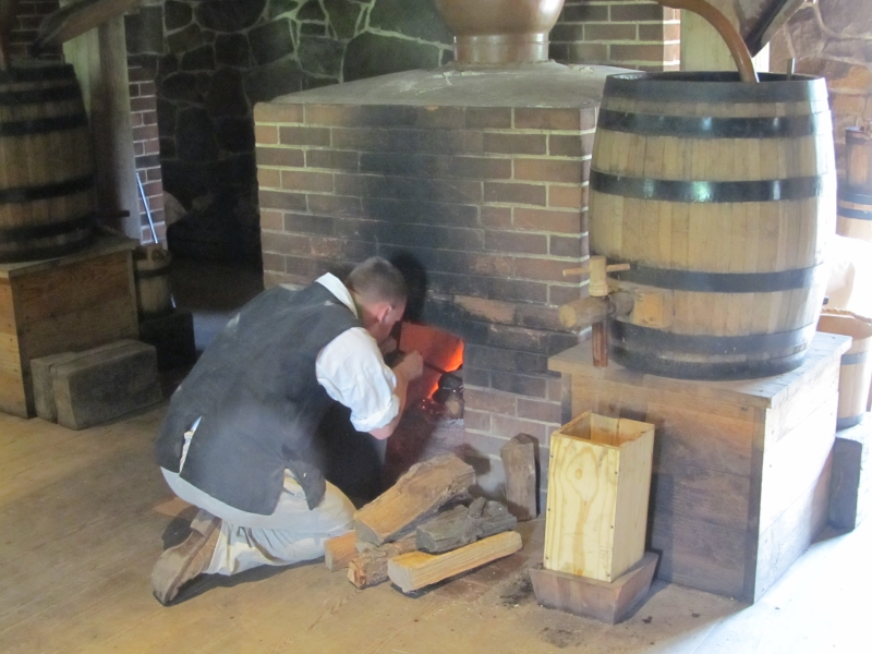 Firing the still at the George Washington Distillery at Mount Vernon in Virginia, near Washington DC.