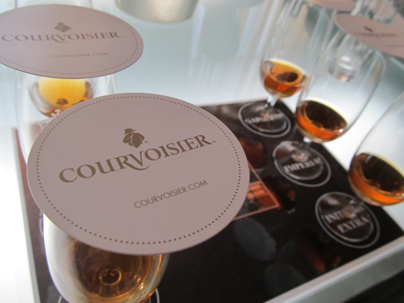 Cognac glasses at a cognac tasting session at the Courvoisier Visitor Centre in Jarnac near Cognac in France
