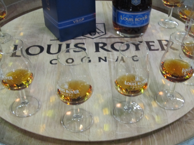 Glasses at a cognac tasting session at the Louis Royer Distillery in Jarnac near Cognac in France