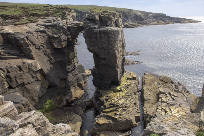 Cliff and coast view near the Scapa Distillery on Orkney in Scotland