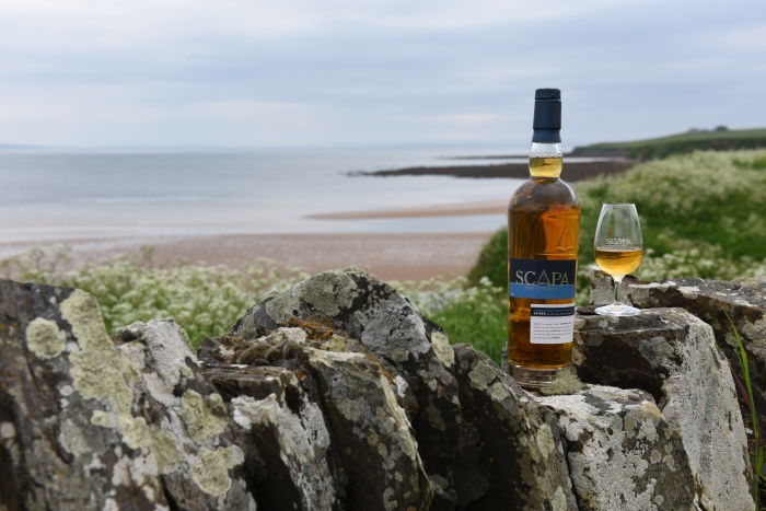 Glass and bottle of Scapa Skiren whisky at the Scapa Distillery on Orkney in Scotland