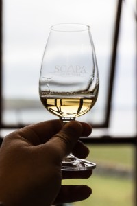 Glass of Scapa Glansa at the Scapa Distillery on Orkney in Scotland