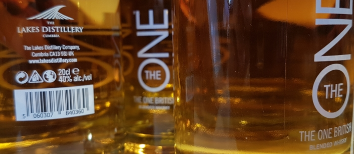 Bottles of The One blended whisky in the Lakes Distillery Shop in Cumbria