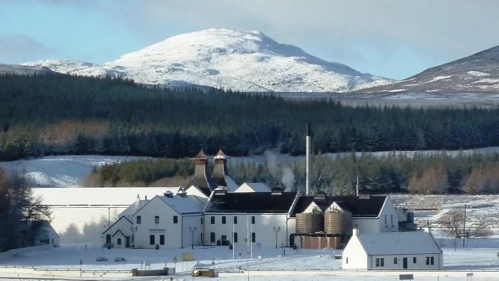 The Dalwhinnie Distillery in Scotland in winter