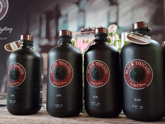 Black Tomato gin bottles at Peterborough Gin Festival