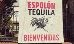 Welcome sign at the Espolon tequila distillery in Jalisco, Mexico