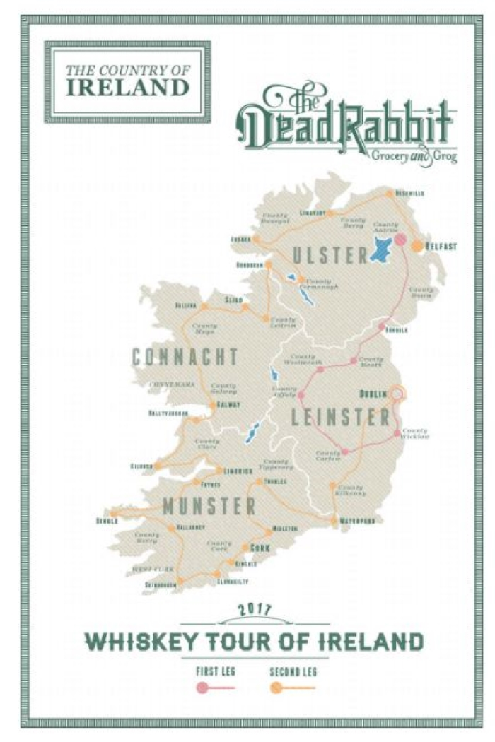 A map of Ireland from the book From Barley to Blarney, a guide to Ireland's whiskey distilleries.