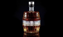A bottle of FIFTY/50/GIN