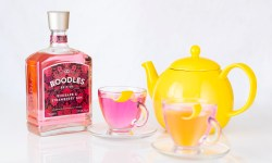 Boodles gin bottle and gin cocktails in a teapot