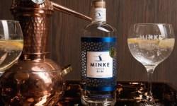 Minke Irish Gin and Gin Glass and miniature still