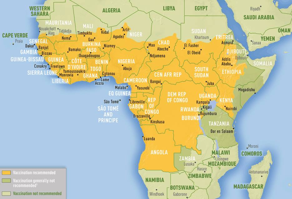 What is Yellow Fever - Yellow Fever Map for Africa