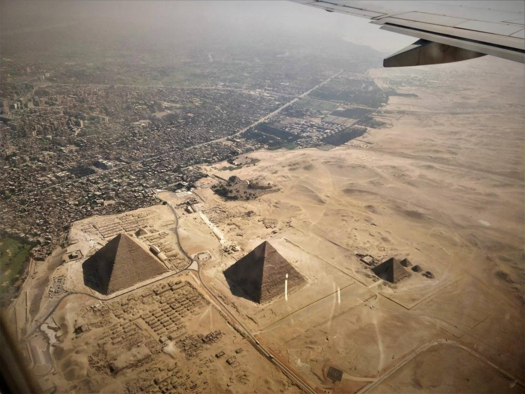 View of the Pyramids of Giza from the top