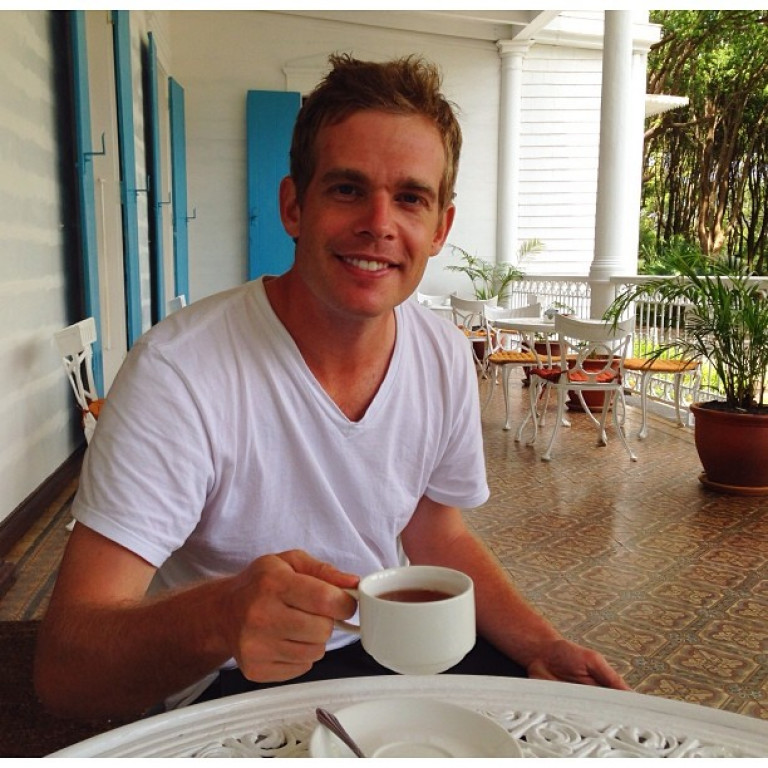 Drinking tea at the Domaines des Aubineaux in Mauritius.