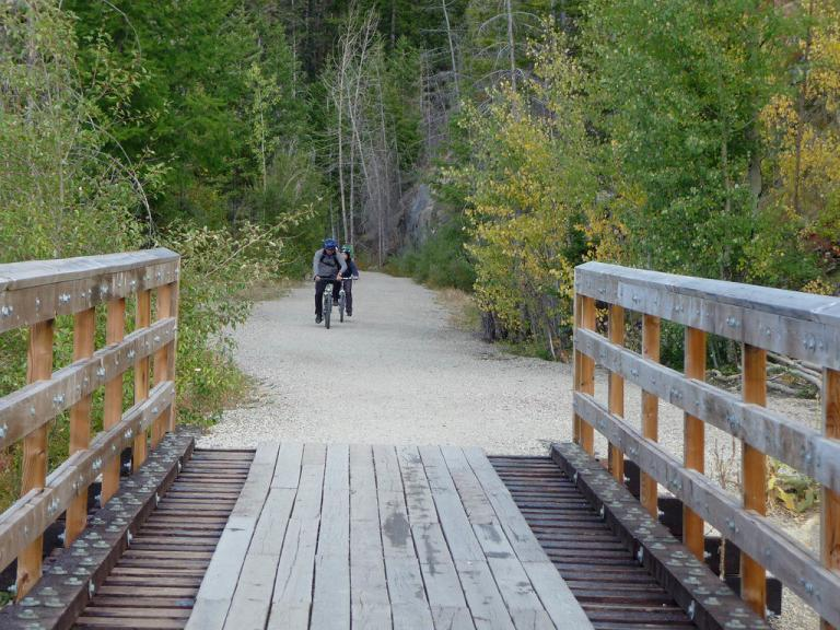 Biking the Kettle Valley Railway through Myra Canyon in British Columbia