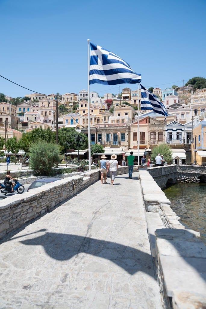 Greek flags in Symi