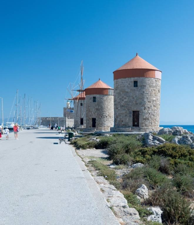 Old Greek windmills in Rhodes