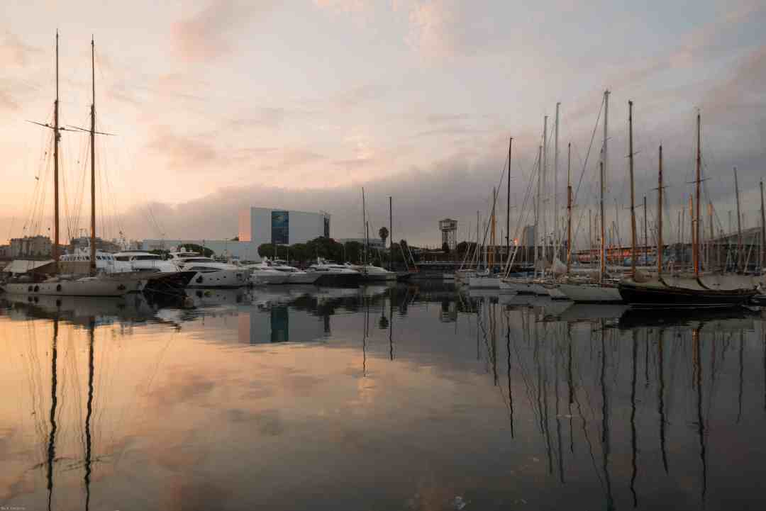 Sailboat harbour with early morning light Barcelona Spain