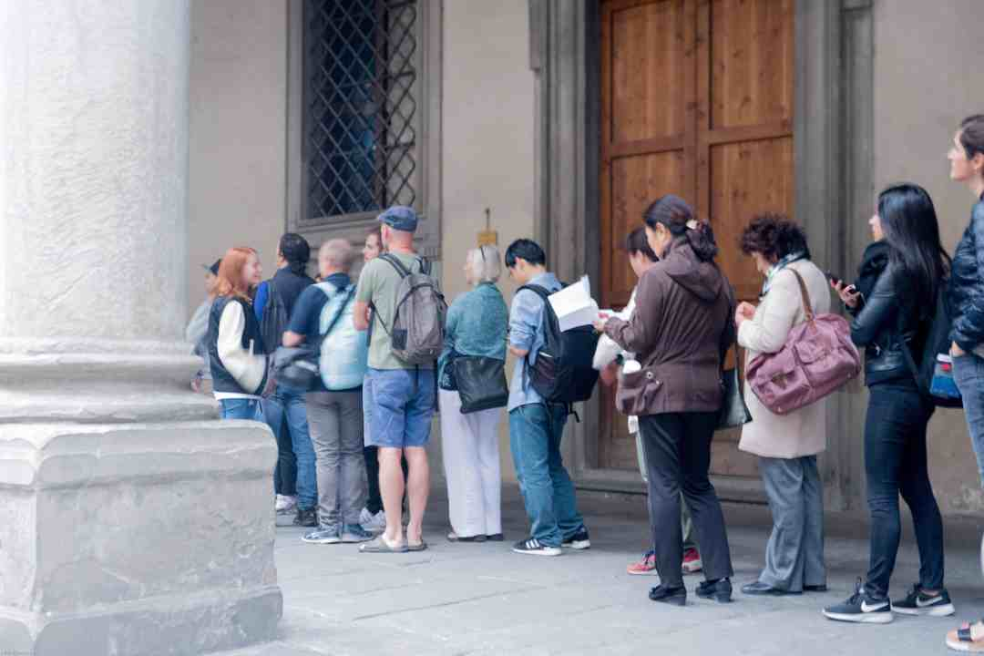 Line for the uffizi in Florence Italy