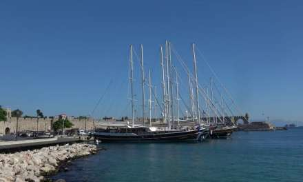 Rhodes harbour Greece sailing ships in 4k