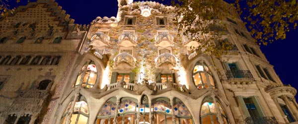 The exterior of Casa Batlló in Barcelona is covered in small pieces of glass to give it a mosaic look.