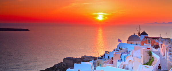 A view of the sunset from the Santorini town of Oia.