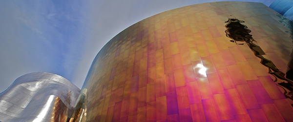 A look at the cool exterior of the Experience Music Project. Photo by mat79/Flickr.
