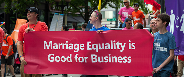 Marching in the Seattle Pride Parade. Photo by Brettonium/Flickr.