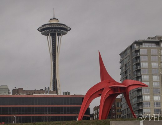 Seattle - Red Eagle Sculpture with Space Needle Behind