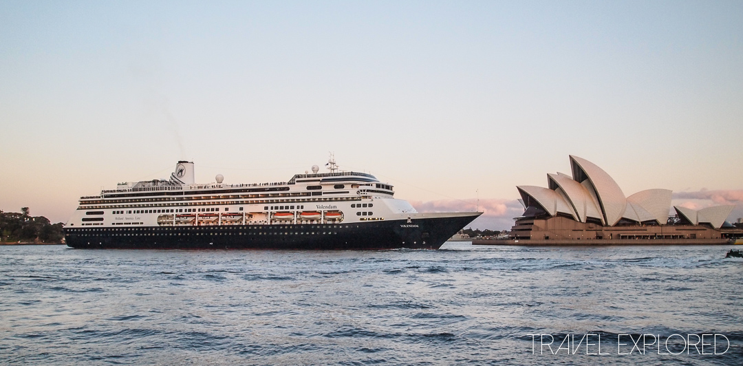 Sydney - MS Volendam departing Sydney Harbour with the Opera House