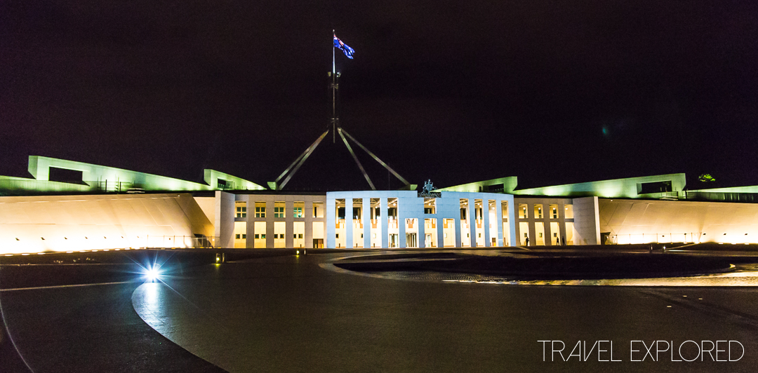 Canberra - Parliament House on Capital Hill by night