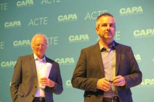 Greeley Koch ACTE Executive Director with Peter Harbison Centre for Aviation Executive Chairman in the background