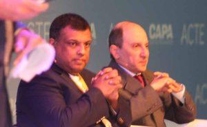 Tony Fernandes and Akbar Al Baker at CAPA aviation summit in Amsterdam, October 27 2016
