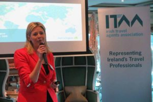 Yvonne Muldoon of Aer Lingus speaking at the ITAA 2016 conference on board Uniworld Antoinette,