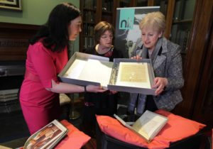 A reception at the National Library of Ireland (NLI) to mark the acquisition of a significant number of manuscripts from the family of WB Yeats were Minister for Arts, Heritage, Regional, Rural and Gaeltacht Affairs, Heather Humphreys (right), Dr. Sandra Collins (left), Director of the National Library of Ireland, and Caitríona Yeats, granddaughter of WB Yeats. The highlight of the new acquisition is a collection of letters to WB Yeats from James Joyce that span almost 24 years of correspondence and illuminate a deep literary friendship. The correspondence includes 10 signed letters and a postcard. The acquisition also features the 'Dream Diary' of Yeats's wife George, and the Yeats family library, which will join WB Yeats's personal library, already held by the NLI. The acquisition of the manuscripts was made possible through the approval of extra funding of more than €500,000 to the NLI, announced by Minister Humphreys today. For more information, visit www.nli.ie. PHOTO: Mark Stedman