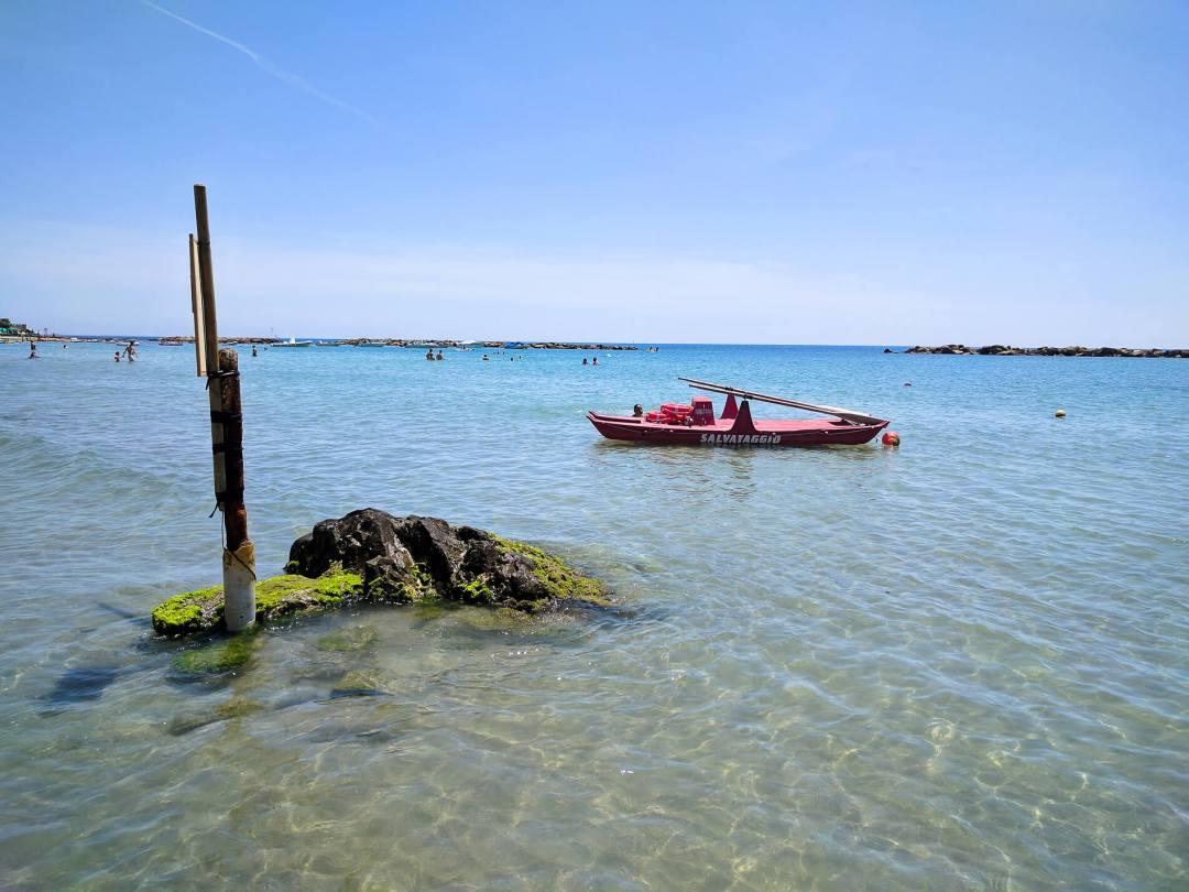 Italian lifeguard boat at the beach in Santa Marinella, Italy.