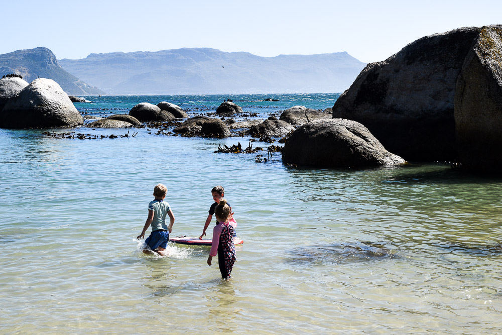 kids swimming at boulders beach in South Africa