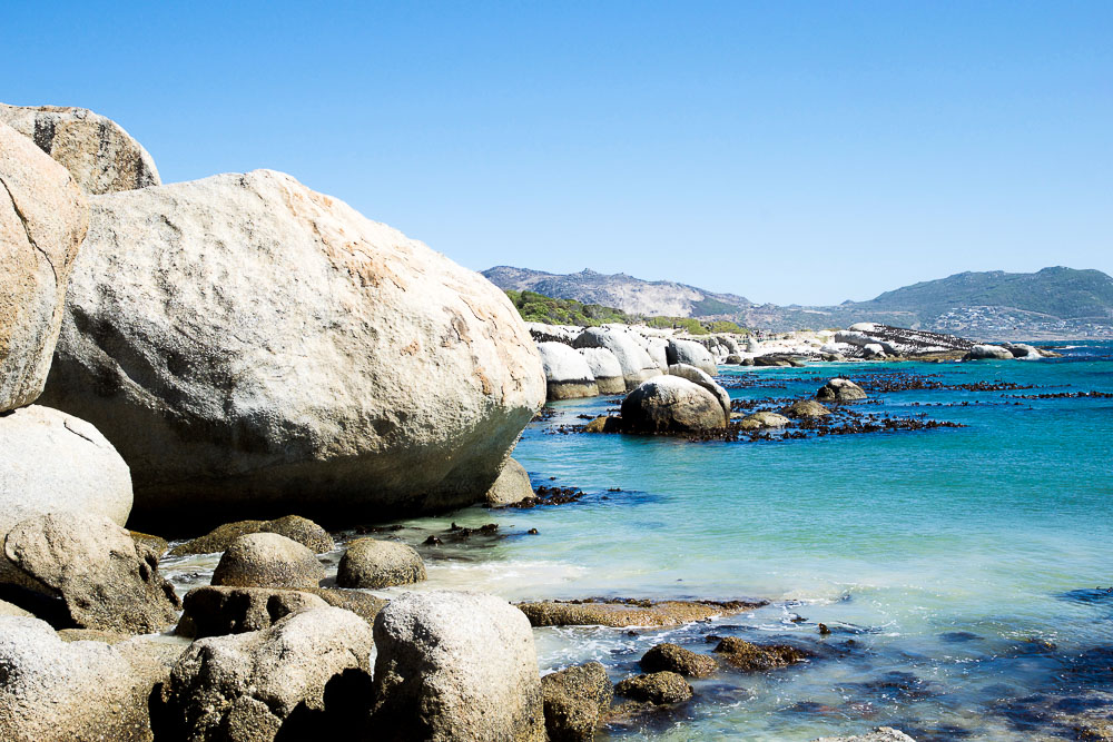 boulders beach with very blue water