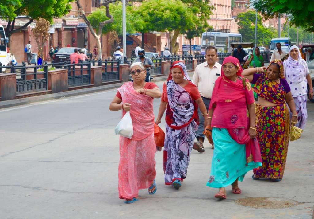 Elderly women walking down the street in Jaipur