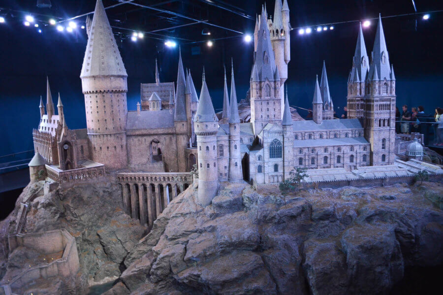 Small, to scale, Hogwarts Model in Harry Potter Studios, London