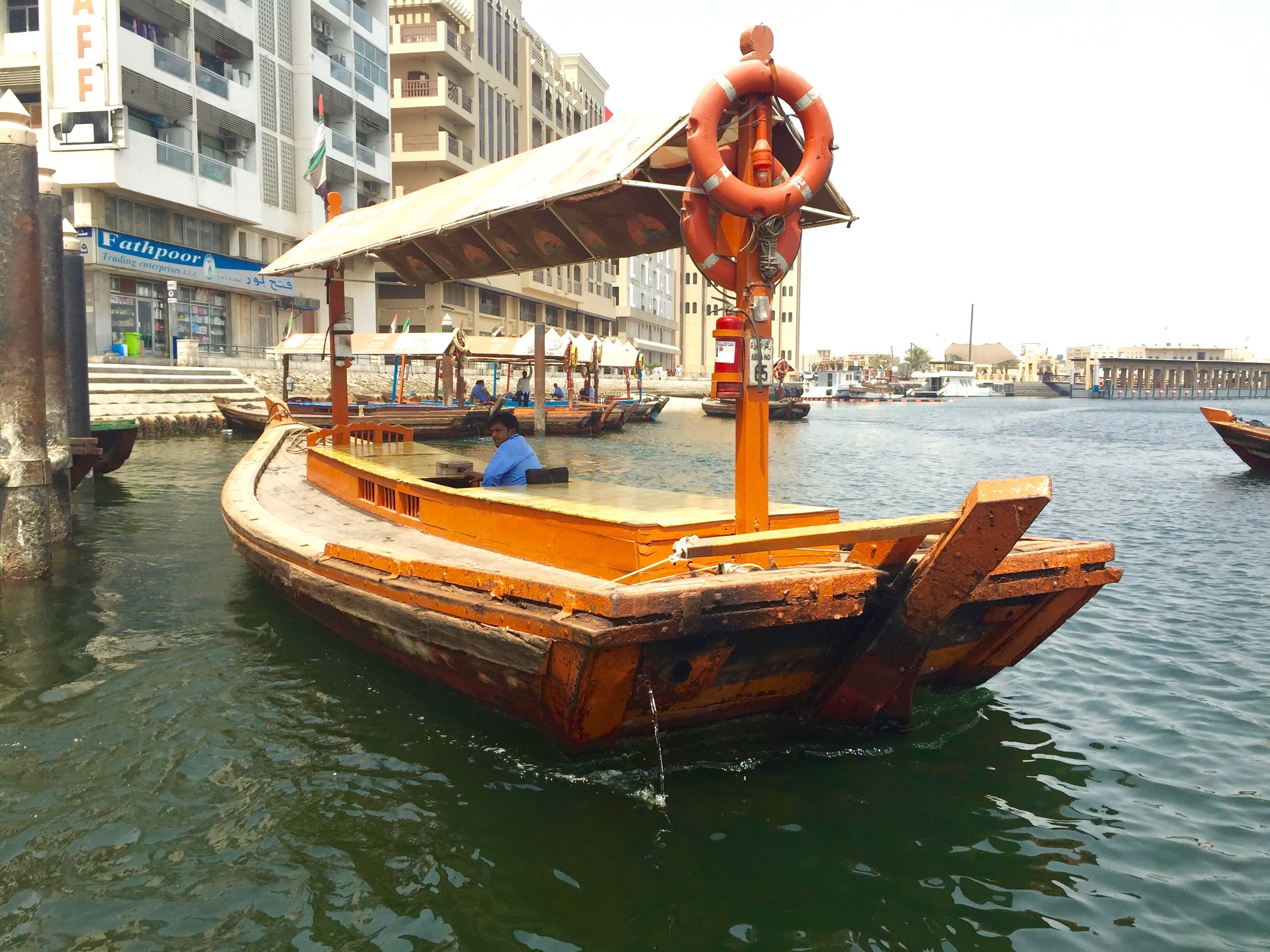 A traditional boat on the river in Dubai