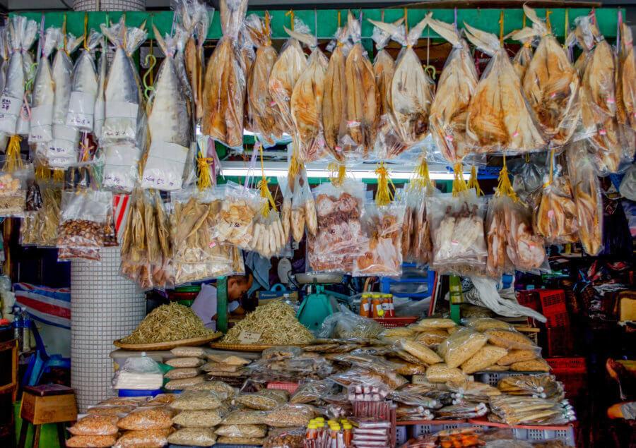Dried fish hanging in the market of Kota Kinabalu