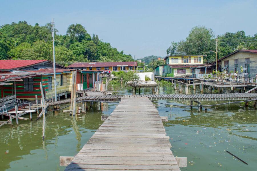 Looking down the board walk of the Brunei Water Village