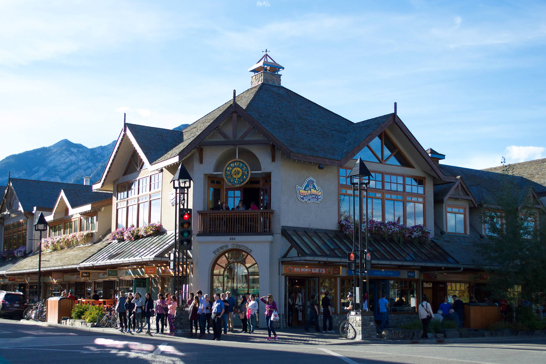 A large building in the main street of Banff