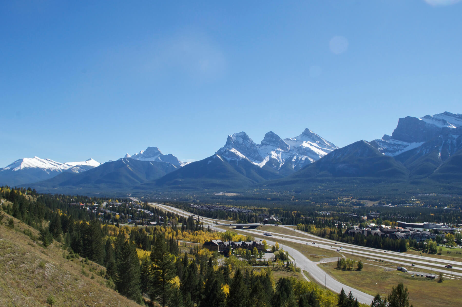 The 'Three Sisters' Peak and rocky mountains in Canmore, Alberta