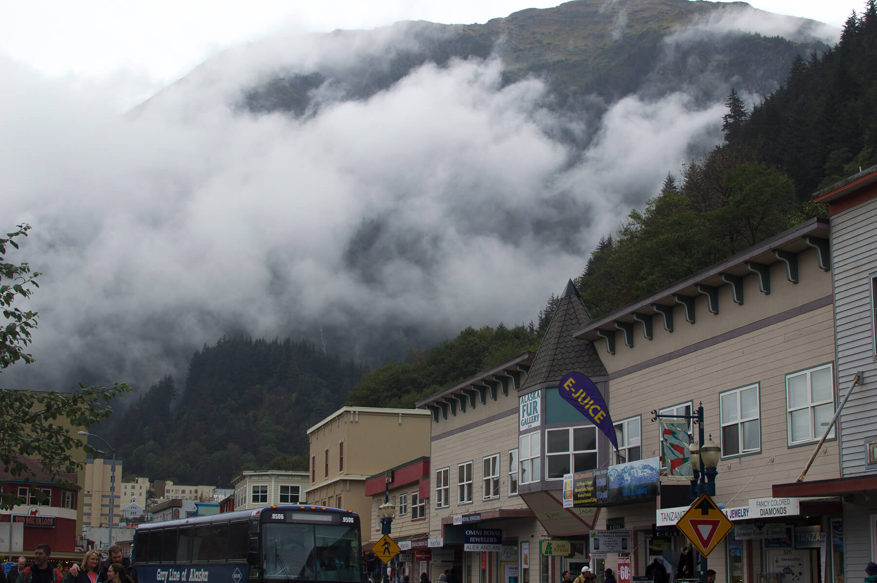 The town of Juneau, surrounded by clouds
